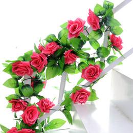 $enCountryForm.capitalKeyWord Australia - 220cm Artificial Flowers Vine Home Wedding Garden Decoration Rose Fake Flowers Rattan String Festival Hanging Silk flower