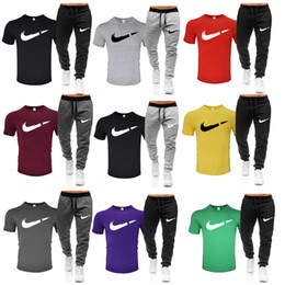 Wholesale mens hooded t shirts online – design Men Tracksuit T Shirt Long Pant Sweatshirt Sets Wear Casual Suits Mens Casual Brief Hooded Sweatshirts Two Pieces
