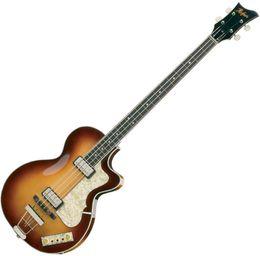 Hofner HCT 5002 Club Bass Sunburst Violine Deluxe 4 Saiten Bass Sunburst Flamme Maple Top Zurück 2 511B Tonabnehmer