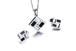 $enCountryForm.capitalKeyWord UK - Simple Stylish Titanium Steel Black and White Glass Pendants Necklace Stud Earrings Korean Ladies Women Accessories Jewelry Set