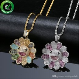gold sunflower pendant NZ - Hip Hop Jewelry Mens Gold Chain Pendants Designer Necklace Iced Out CZ Rotatable Sunflower Pendant Diamond Bling Luxury Pandora Style Charms