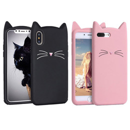 kitty silicone case NZ - 3D Cartoon Silicone Cute Kitty Cat Rubber Phone Case Lovely Cat Full Protection Gel Phone Cases for iPhone 7 8PLUS XR X MAX