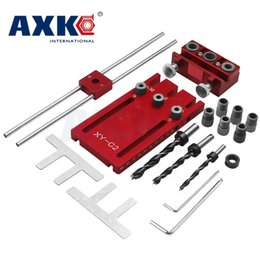 high precision tools NZ - Woodworking tool DIY Woodworking Joinery High Precision Dowel Jigs Kit 3 in1 Drilling locator drilling guide kit red DT052