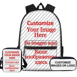 $enCountryForm.capitalKeyWord Australia - Personalized Kids School Bags Set Custom Images Logo 3D Printing Large Backpack For Boys Girls Child Schoolbag Lunch Pencil Bag