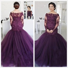 24w plus size prom dresses NZ - Glamorous Long Sleeve evening dresses 2019 Plus Size Prom Dress Mermaid Lace Appliques Beading bateau burgundy vestidos de quinceañera 2K19