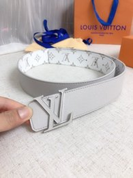 Silver Knit Fabric Australia - White width 40Mm classic printed waterproof fabric Mens Belt Authentic Official Belt With Box
