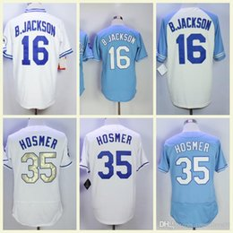 polo red white blue Australia - Men's Baseball Jerseys 35 Eric Hosmer 16 Bo Jackson Fashion Jersey White Blue Grey Size M-XXXL Men polo shirt