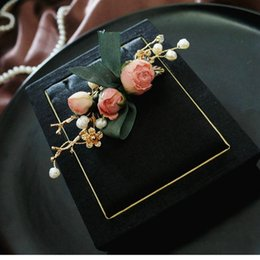 flower rhinestone resin brooch UK - SINZRY unique handmade natural pearl preserved rose flower bridal brooches pin creative fashion jewelry for female