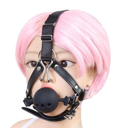 Nose Hook Slave Australia - Harness Mouth Gags Large BDSM Bondage Silicone Ball Gag with Nose Hook Fetish Play Toys Slave Torture Restraints for Housewife