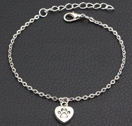 $enCountryForm.capitalKeyWord Australia - 2019 New Dog Paw Prints Heart Charms Bracelet Antique Silver Bracelet DIY Handmade Link Chain Bracelet For Women