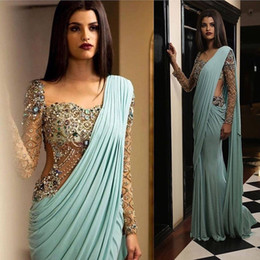 Champagne long sleeve Chiffon gown online shopping - 2019 Aso Ebi Arabic Luxurious Sexy India Evening Dresses Beaded Crystals Mermaid Prom Dresses Chifon Formal Party Second Reception Gowns
