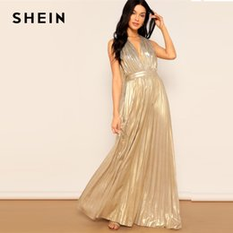 SHEIN Party Gold Deep V Plunging Neck Halter Backless Pleated Glitter Maxi  Dress Going Out 2019 Women Sleeveless Dress 395566d0befe