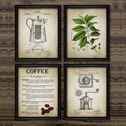 paintings coffee Australia - Coffee Making Vintage Poster Print Coffee Percolator and Bean Wall Art Canvas Painting Types Of Picture Home Decor
