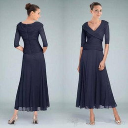 a80b00bc0fa Tea Length Wedding Guest Dresses Sleeves Australia - Real Image Dark Navy  Custom Colors Tea Length