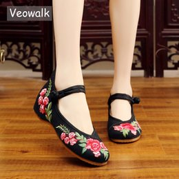 $enCountryForm.capitalKeyWord NZ - Veowalk Handmade Women's Vintage Embroidered Canvas Ballet Flats Ladies Comfortable Chinese Ballerinas Women Embroidery Shoes