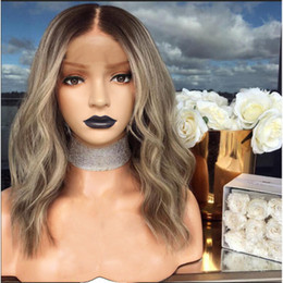 Wholesale Brown Blonde Mix Color Wig Big Wave Medium Long Curly Hair High Temperature Silk Synthetic Lace Front Wigs for Women Costume
