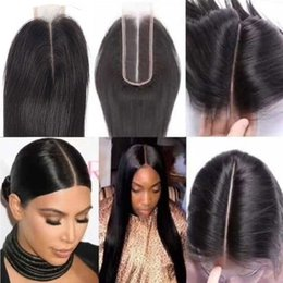 Discount knotting hair - Human Hair Closure Brazilian Straight Closure Natural Extensions 2x6 Lace Closure 100% Human Hair Bleached Knots With Ba