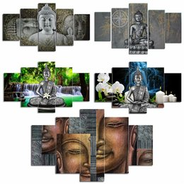 $enCountryForm.capitalKeyWord Australia - 5 Panels Divine Posters Hd Printed Painting Canvas Traditional Figure Of Buddha Symbol Buddhism Wall Art Pictures J190707