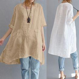 $enCountryForm.capitalKeyWord Australia - Long Women Blouse Cotton Linen Short Sleeve Asymmetric Loose Oversized Women Shirt Pockets Tunic Tops Plus Size White S-5xl Y19050501