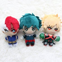 chains anime Australia - 15CM My Hero Academia Plush Toy Charm Key Chain Midoriya Izuku Bakugou Katsuki Todoroki Shoto Stuffed Anime Comics Doll party decor FFA2661