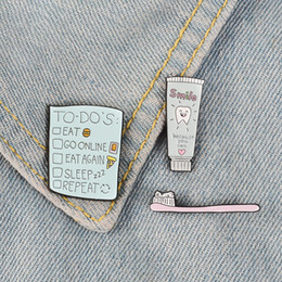 Discount toothbrush wholesale china Toothbrush Toothpaste Enamel Pins TO DO List Badges Custom Brooches Pastel Lapel pin Denim Shirt Cartoon Cute Smile Jewe