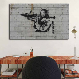 picture banksy NZ - Banksy Mona Lisa Rocket Launcher Graffiti HD Wall Art Canvas Posters Prints Painting Wall Pictures For Living Room Home Decor