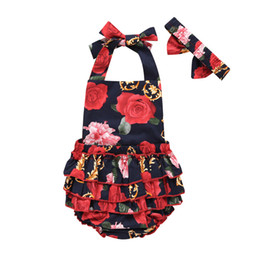 $enCountryForm.capitalKeyWord UK - Kids Designer Clothes Girls Floral Print Jumpsuit With Bow Turban Female Baby Clothes Folds Suspenders Jumpsuit