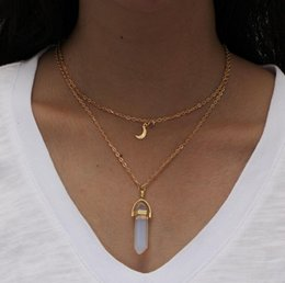 Discount geometric necklace metal - New Style Double Layer Moon Pendant&Neckalce Fashion Punk Geometric Metal Chain Necklaces For Women Boho Party Jewelry G