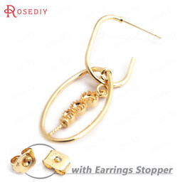 gold color combinations 2019 - (35283)6PCS Oval 25x13MM 24K Gold Color Brass Oval Combination with Half Hole Pin Stud Earrings Diy Jewelry Findings Acc