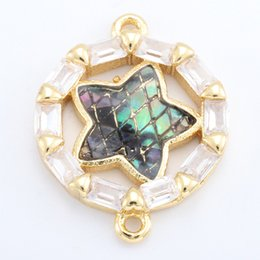 $enCountryForm.capitalKeyWord Australia - Singreal Abalone Shell Micro Pave Star Charms Bracelet necklace Choker Pendant connectors for women DIY Jewelry making