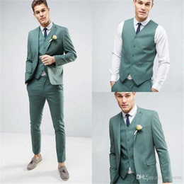 $enCountryForm.capitalKeyWord Australia - Modest Mint Green Slim Fit Three Pieces Men's Clothing Notched Lapel One Button Wedding Tuxedos Custom Made Man Jacket and Pants