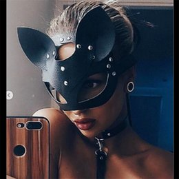 Leather Half Face Masks Australia - Women Sexy Mask Half Eyes Cosplay Face Cat Leather Mask Cosplay Adult Play Game Masquerade Ball Carnival Fancy masks
