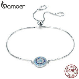 silicone chain link bracelet NZ - BAMOER 925 Sterling Silver Luxury Round Blue Lucky Eyes Power Bracelet Pave CZ Adjustable Link Chain Bracelets Jewelry SCB005 CX200706