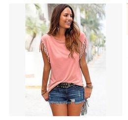 Girls Tassel Shirt Australia - 2019 Summer European Girl T-shirt Clothes Short Sleeved Tassels T-shirts For Women Wholesale Solid color Female T-shirts Free Shipping