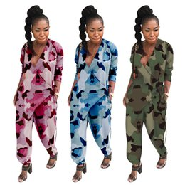 wholesale women full bodysuits UK - Women Jumpsuits & Rompers deep-v neck lantern pants loose full-length long sleeve bodysuits fall winter clothing sportswear Camouflage 1757