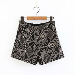 $enCountryForm.capitalKeyWord Australia - women sequined embroidery geometric pattern velvet Shorts ladies casual hot chic high waist short pants pantalones cortos P210 S190423