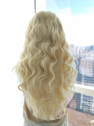 Long Light bLue cospLay wig online shopping - High Quality Blonde Colors in Stock Long Wavy Wig Synthetic Lace Front Wig Natural Hairline High Temperature Cosplay Party Wigs For Women