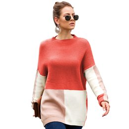 $enCountryForm.capitalKeyWord Australia - Loose Fit Sweater Women Color Block Knit Jumper 4 colors In Autumn Spring 2019 New Arrival