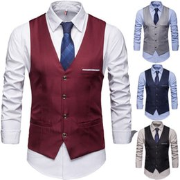 19e7b46795b0 2019 New Fashion Men's Jackets Formal Casual V-Neck Popular Pockets Fashion  Vest Tie Suit Slim Tuxedo Waistcoat Coat