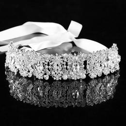 $enCountryForm.capitalKeyWord Australia - Handmade Ribbon Silver Crystal Leaf Wedding Bride Head Chain Rhinestone Flower Women Bridal Hairbands Headdress Hair Accessories