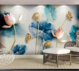 $enCountryForm.capitalKeyWord Australia - Bacaz Chinese Painting Lotus Flower Murals 5D Papel Murals for Living Room Background Wallpaper 3d Photo Murals Wall paper