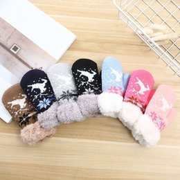Warmest mittens online shopping - kids gloves Christmas Deer Gloves solid knitting warm glove children boys Girls Mittens Unisex Gloves