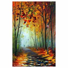 "$enCountryForm.capitalKeyWord Australia - 36""x48"" Hand-painted Red leaf tree canvas oil painting forest road sofa background wall painting staircase porch decorative painting"