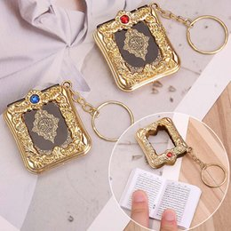 paper chains wholesale Australia - 2019 New Muslim Keychain Resin Islamic Mini Ark Quran Book Real Paper Can Read Pendant Key Ring Key Chain Religious Jewelry