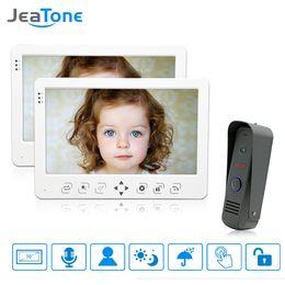 waterproof outdoor intercom system 2019 - JeaTone 10'' Wired Video Door Phone Intercom System 2 LCD Monitor Dual-way Intercom With 1 Waterproof Outdoor