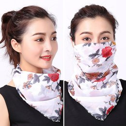 white cotton chiffon scarf Australia - Spring and summer sun mask female UV protection neck mask thin chiffon breathable veil scarf
