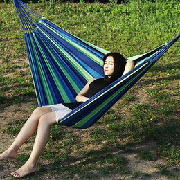 $enCountryForm.capitalKeyWord NZ - Hammock Two People Sleeping Bed Outdoor Canvas Camping Hammock Curved Wooden Stick Stable Garden Swing Chair Hanging Sleep Bed