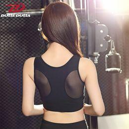 $enCountryForm.capitalKeyWord Australia - Sexy Black Mesh Sport Bra For Women Tank Gym Top Yoga Vest Fitness Push Up Wide Strap Running Athletic Underwear Padded Clothing