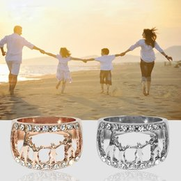 Hollow Fingers Australia - Creativity love life love family Hollow out family hand in hand finger rings high quality Rose gold Silver color CZ Jewelry