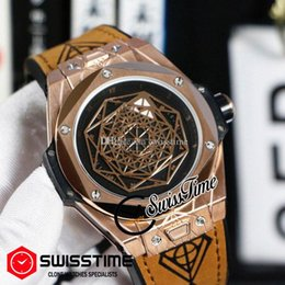 black rose tattoos Canada - Sale Tattoos Automatic Mens Watch Celestial Movement Rose Gold Black Dial Brown Leather Free Removal Of Strap New SwissTime HUBG47b2